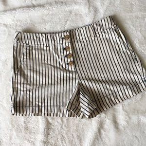 Loft High Rise Striped Shorts Button Fly